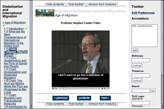 The video shown in Figure 8.5 now displays captions. The professor is saying 'I don't want to go into a definition of globalization.'