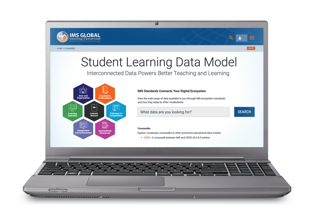 Image of a laptop showing the IMS Student Learning Data Model