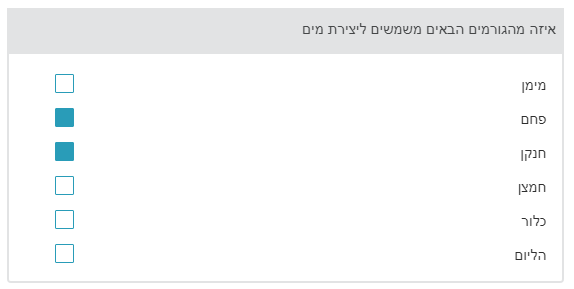 A sample choiceInteraction item in Hebrew showing the possible checkboxes on the left with the                answers justified to the right. The question is right justified at the top.
