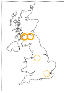 There are 2 line drawings of the United Kingdom. Each drawing has 4 circles.                            2 of each of the 4 circles are shown with thin lines, and 2 with thick lines. The first drawing                            has orange lined circles.