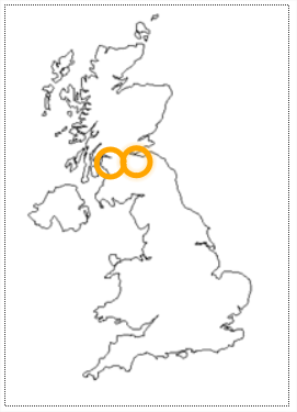 There are 2 line drawings of the United Kingdom. Each drawing has 2 colored circles.                            The first drawing has orange lined circles.