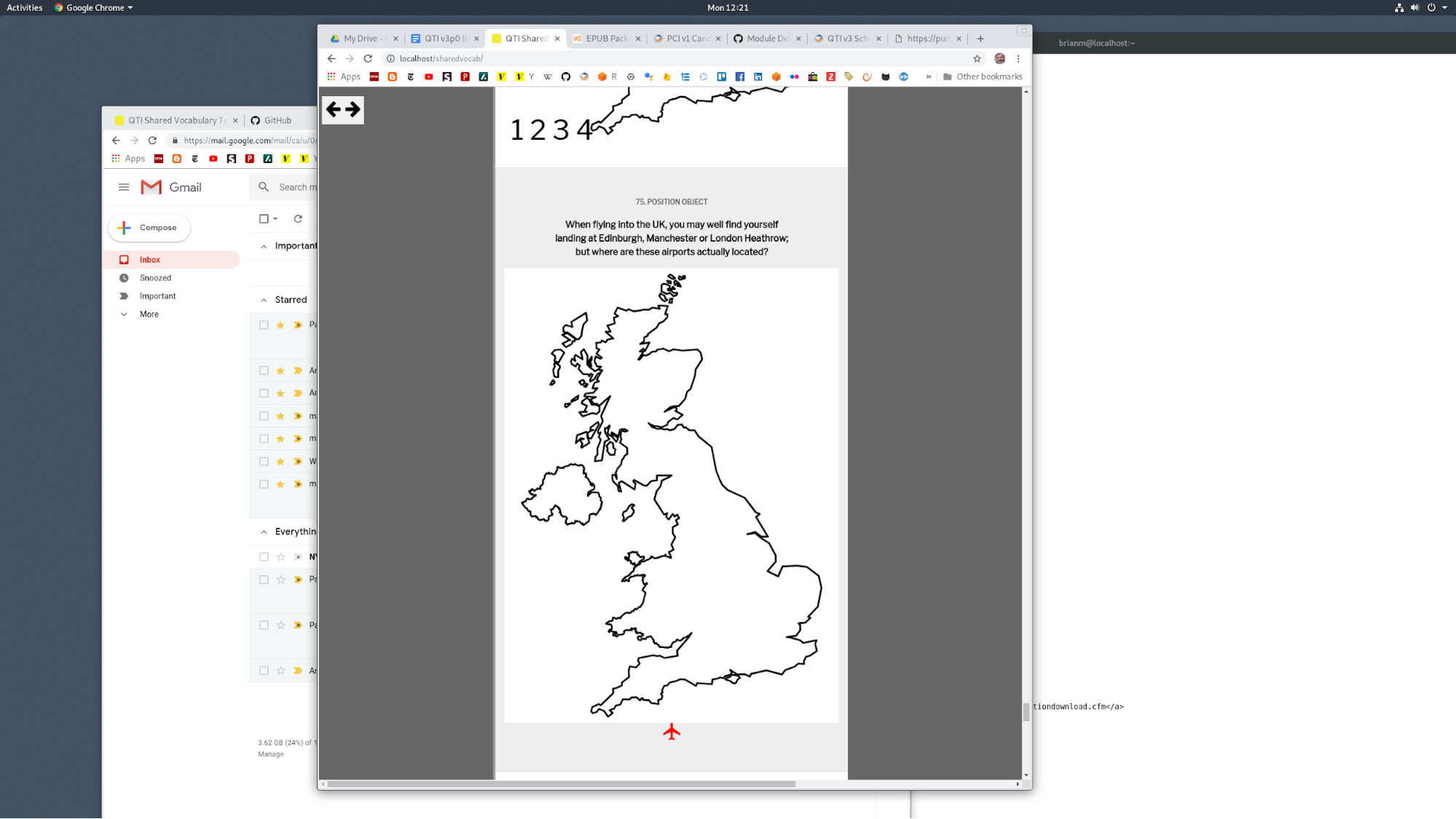 A paragraph of text is shown above an image. The image is a line drawing of the United Kingdom.                        Below the line drawing is an airplane icon.