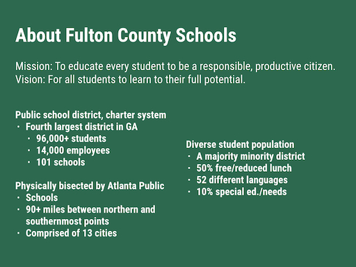 ... district stretching 90+ miles from end to end with another school  district (Atlanta Public Schools district) splitting Fulton County Schools  in half.